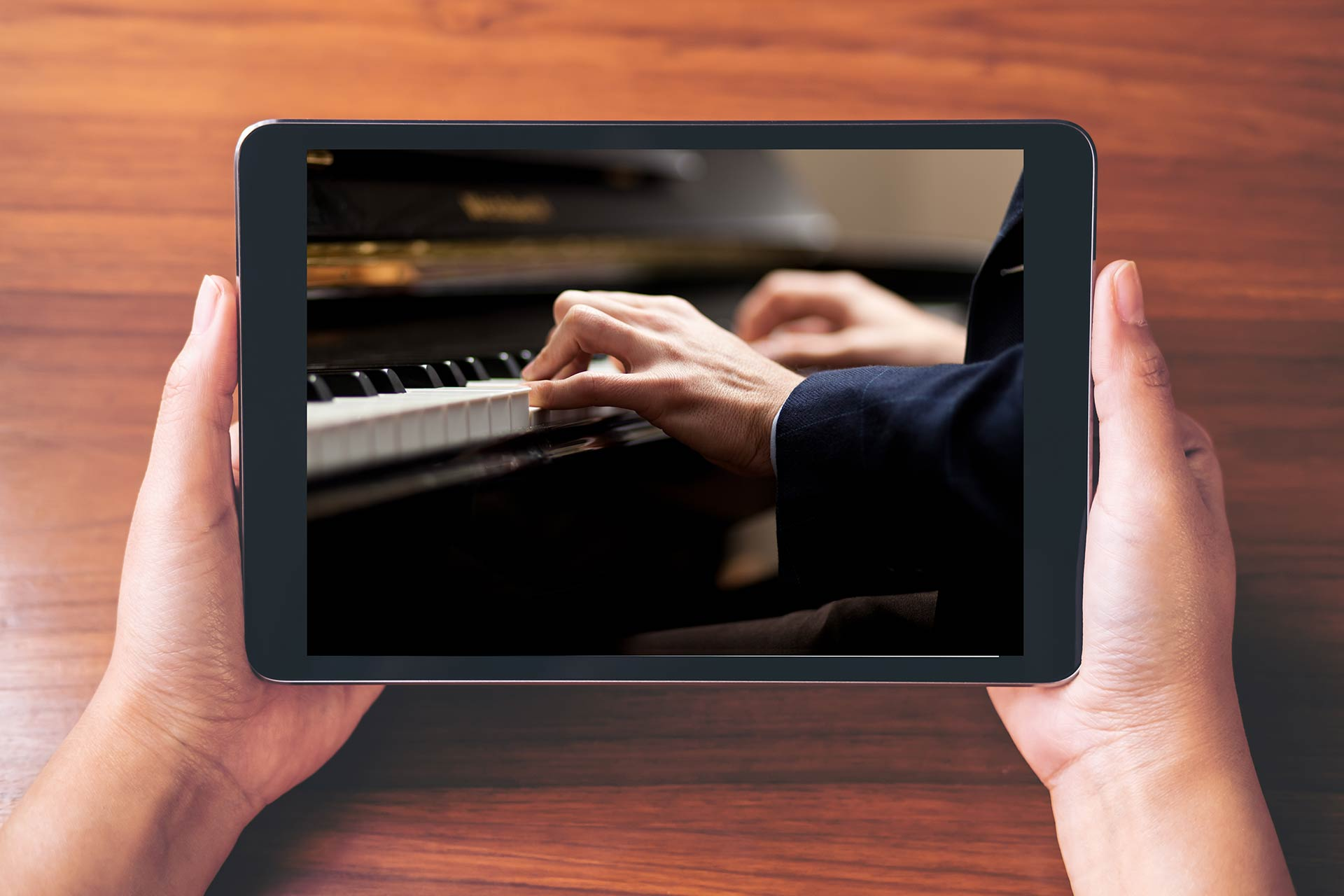 Tablet with piano on it